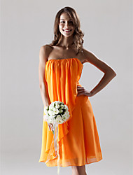 Knee-length Chiffon Bridesmaid Dress - Orange Plus Sizes Sheath/Column Strapless