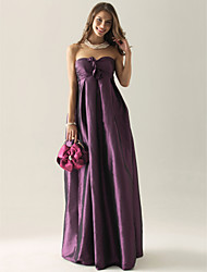 Bridesmaid Dress Floor Length Taffeta Empire Strapless Wedding Party Dress