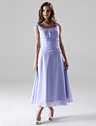Lanting Bride Tea-length Chiffon Bridesmaid Dress A-line / Princess Off-the-shoulder Plus Size / Petite with Ruching