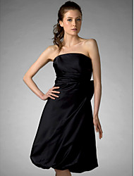 Lanting Bride® Knee-length Satin Bridesmaid Dress - Little Black Dress A-line / Princess StraplessApple / Hourglass / Inverted Triangle /