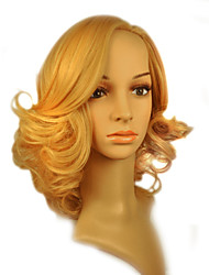 Capless Medium Length High Quality Synthetic Golden Blonde Curly Hair Wig