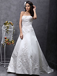 Lanting Bride® A-line / Princess Petite / Plus Sizes Wedding Dress - Classic & Timeless / Elegant & Luxurious Sweep / Brush Train