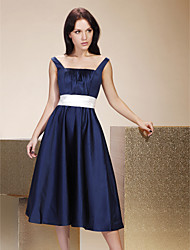Tea-length Satin Bridesmaid Dress - Dark Navy Plus Sizes / Petite A-line / Princess Straps / Square