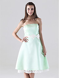 Lanting Bride® Knee-length Satin Bridesmaid Dress - A-line Strapless Plus Size / Petite with Bow(s) / Lace / Sash / Ribbon