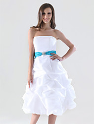Knee-length Taffeta Bridesmaid Dress - White Plus Sizes A-line/Princess Strapless