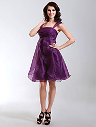 TS Couture® Cocktail Party / Holiday Dress - Short Plus Size / Petite A-line / Princess Square / Straps Knee-length Organza with Ruffles / Ruching