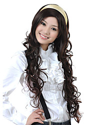 Capless Extra Long Top Grade Quality Synthetic Dark Brown Curly Hair Wig