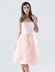 Knee-length Organza / Satin Bridesmaid Dress-Plus Size / Petite A-line Strapless