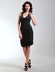 Sheath / Column V-neck Straps Short / Mini Taffeta Cocktail Party Homecoming Holiday Dress with Ruching by TS Couture®