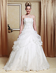 Lanting Bride A-line / Princess Petite / Plus Sizes Wedding Dress-Floor-length Strapless Organza / Satin