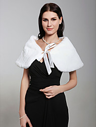 Sleeveless Faux Fur With Sashes/ Ribbons Bridal Wedding Evening Jacket/ Wrap Bolero Shrug