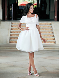 Lanting Ball Gown Plus Sizes Wedding Dress - White Knee-length Square Organza/Taffeta