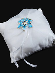 Wedding Ring Pillow In Smooth Satin With Blue Metal Flower