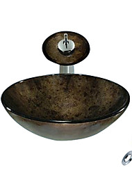 Gray Round Tempered glass Vessel Sink With Waterfall Faucet, Mounting Ring and Water Drain(0888-C-BLY-6140-WF)