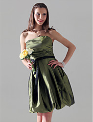 Knee-length Strapless Bridesmaid Dress - Open Back Sleeveless Taffeta