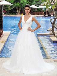 A-line Princess V-neck Straps Court Train Satin Tulle Wedding Dress with Draped by LAN TING BRIDE®