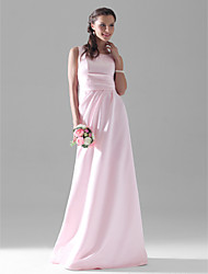 A-Line Scoop Neck Floor Length Satin Bridesmaid Dress with Side Draping by LAN TING BRIDE®