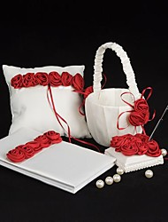 Bold Red Luxury Rose Lined Wedding Collection Set (4 Pieces)
