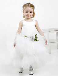 Ball Gown Ankle-length Flower Girl Dress - Satin / Tulle Sleeveless Jewel with Flower(s) / Sash / Ribbon / Tiers