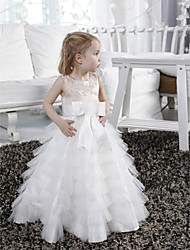LAN TING BRIDE A-line Princess Floor-length Flower Girl Dress - Satin Tulle Jewel with Beading Appliques Bow(s) Sash / Ribbon
