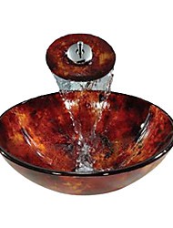 Red Round Tempered glass Vessel Sink With Waterfall Faucet(0888-C-BLY-6427-WF)