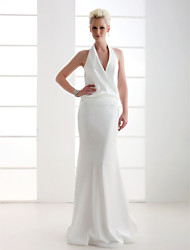 Sheath/Column Plus Sizes Wedding Dress - Ivory Floor-length V-neck Stretch Satin