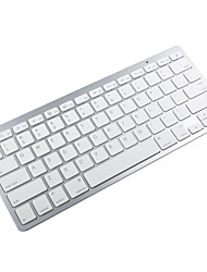 81 Key Slim Portable Bluetooth Wireless Keyboard Chiclet Keys White Silver