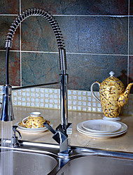 Solid Brass Spring Kitchen Faucet with Color Changing LED Light