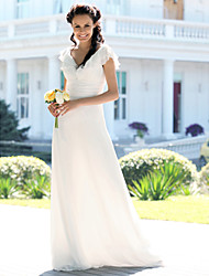 Mermaid / Trumpet V-neck Floor Length Chiffon Wedding Dress with Ruche by LAN TING BRIDE®
