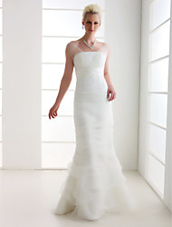 Lanting Bride Trumpet/Mermaid Petite / Plus Sizes Wedding Dress-Floor-length Off-the-shoulder Organza / Tulle