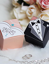 12 Piece/Set Favor Holder - Cubic Card Paper Favor Boxes Bride & Groom