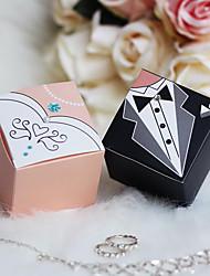 12 pièce / set titulaire de faveur - cube papier de carte boîtes de faveur mariée& jeune marié