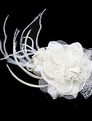 Gorgeous Flax/ Tulle With Feather/ Rhinestone Bridal Headpiece