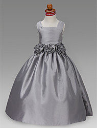 Lanting Bride A-line / Ball Gown / Princess Floor-length Flower Girl Dress - Taffeta Sleeveless Square with Draping / Flower(s)
