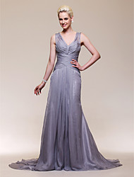 Mermaid / Trumpet V-neck Court Train Chiffon Stretch Satin Evening Dress with Beading by TS Couture®