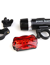 Bicycle Bike White 5-LED Torch Flashlight + Red 5-LED 7-Mode Tail Light Set with Mount