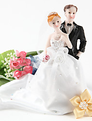 Cake Topper Non-personalized Classic Couple Resin Bridal Shower / Wedding Rhinestone White / Black Garden Theme Gift Box
