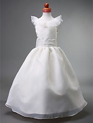Lanting Bride Ball Gown Floor-length Flower Girl Dress - Organza / Satin Sleeveless Jewel with Bow(s) / Ruffles / Ruching