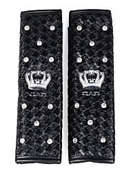 pour siège d'auto ornement arc-en-cuir métier pad de ceinture avec cristal incrusté couronne 2 pcs