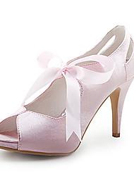 Obermaterial Satin High Heels Peep-Toes mit Schärpe Hochzeit Brautschuhe (0984-r-048)