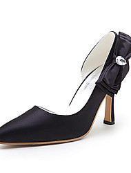 Top Quality Satin Upper High Heel Closed-toes With Acrylic Fashion Shoes