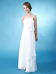 Lanting Bride® Floor-length Chiffon / Satin Junior Bridesmaid Dress A-line / Sheath / Column Spaghetti Straps Natural withFlower(s) /