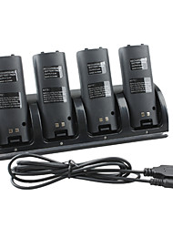 4-Port USB Charging Station + 4x1800mAh Rechargeable Batteries for Wii/Wii U Remote (Black)