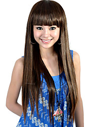 Capless Extra Long Top Grade Quality Synthetic Brown Straight Hair Wig
