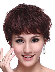 Capless Short 100% Human Hair Chocolate Brown Curly Elegant Hair Wig
