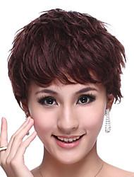 Capless Short 100% Human Hair Chocolate Brown Curly Elegant Hair Wig