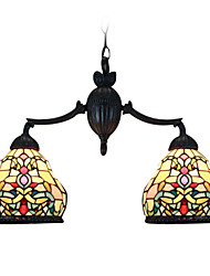 Tiffany Style Wall Sconce Stained Glass Pendant Light with 2 Lights