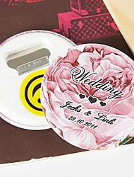 Personalized Bottle Opener/Fridge Magnet - Pink Rose (set of 12)