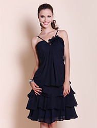 LAN TING BRIDE Knee-length Sweetheart Spaghetti Straps Bridesmaid Dress - Little Black Dress Sleeveless Chiffon