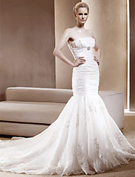 Lanting Gorgeous Trumpet/Mermaid Strapless Chapel Train Taffeta Wedding Dress